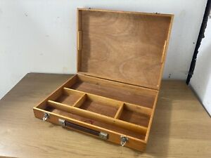 Wooden Art Supplies Box Case with Handle