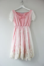 Kawaii Fairy Kei Princess Stars Rainbow Lace Overlay Ribbon Pink Dress Size S