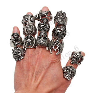 Retro 12pcs Big Gothic Skull Carved Biker Mixed Styles Men Anti-Silver Rings New