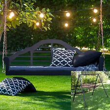 2 Piece Black Arched Back Hanging Porch Swing Stand Set Outdoor Furniture Patio