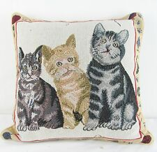 Tapestry Cushion Filled 3 Cats or Kittens Signare -  45 x 45 cm