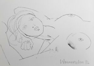 "Womacka, Walter(1925 Obergeorgenthal/Böhmen–2010 Berlin)""Liegender Halbakt""Litho"