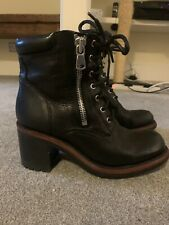 Free Lance Black Biker Boots With Zips 37.5