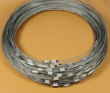 """20pcs 1mm Grey Stainless Steel Beading Cord Wire Necklace 18"""""""