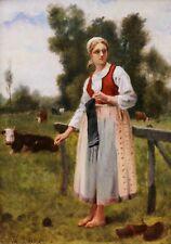Th. LEPAGE tableau huile portrait jeune femme paysanne champs vache Jules BRETON