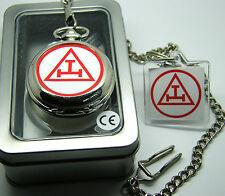 Royal Arch Triple Tau Masonic Regalia Pocket Watch Chain Keyring Battery