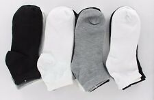 12 Pairs Women Girls Soft Casual Black White Gray Classical Ankle Cut Socks 9-11