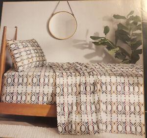 "pendleton 3 piece flannel sheet set twin - 68""X96"" white sand multi NEW"