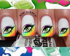 Rainbow Eye Fashion Nail Art Waterslide Decals *Salon Quality