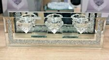 Set Of 3 Luxury Crushed Crystal Tealight Candle Holders & mirror with WALLS
