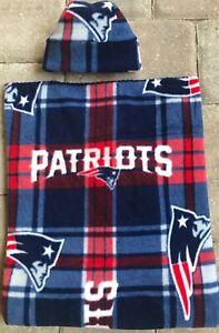 New England Patriots Plaid Receiving Blanket Hat Gift Set Newborn Baby Boy Girl