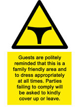 A5 Swimming Pool No Thongs Sign - Hotel Spa Country Love Health & Safety Island