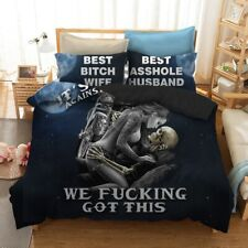 Black Skull Bedding Set KING Queen Size 3d Couple kissing Skull Printed Skull