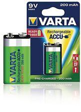BATTERIA RICARICABILE DA 9 V NiMH Varta Ready2Use 6LR61 200 mAh TENS. NOM. 8,4V