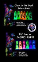 Uv Fabric Paint Kits  UV Glow & Glow In The Dark  6 x 50ml Tube Fabric Paint Kit