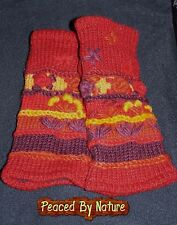 HANDMADE Burgundy RED ORANGE Fingerless WOOL FLEECE Gloves Armwarmer Handwarmers