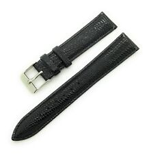 18mm Lucien Piccard Black Lizard Grain Genuine Leather Watch Band