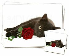 Black Kitten with Red Rose Twin 2x Placemats+2x Coasters Set in Gift , AC-185RPC