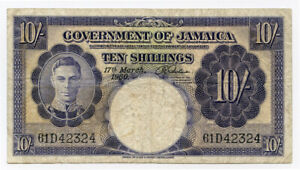 JAMAICA 1960 ISSUE KING GEORGE VI 10 SHILLINGS BANKNOTE SCARCE.Pick#39.