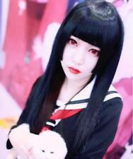 Hellgirl blunt fringe Cosplay Perücke wig lang Gerade Schwarz Kakegurui 75cm