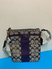 NWT Coach 48452 Legacy Signature Stripe Swingpack Crossbody Bag Black Violet