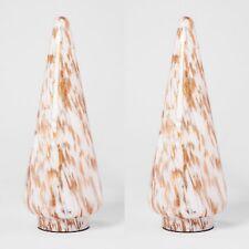 "2pk OPALHOUSE Decorative Glass Christmas Tree | Gold/White | 10""x4"" | NWT"