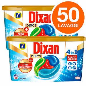 Dixan Detersivo Capsule Discs Azione Igienizzante 4in1 Lavatrice 50 Lavaggi Disc