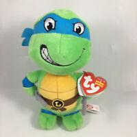 "Ty Beanie Baby 6"" Teenage Mutant Ninja Turtles LEONARDO New w/ Heart Tags MWMTs"
