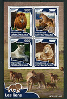 Central African Republic 2016 MNH Lions 4v M/S Wild Animals Big Cats Stamps