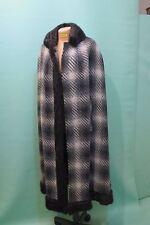 Traumhaftes Cape vintage Umhang vintage Tweed kariert Pelz Schurwolle Fell