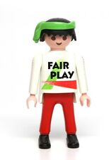 "Playmobil Figure Sports Soccer Player w/ ""Fair Play"" Shirt Green Headwrap 3868"