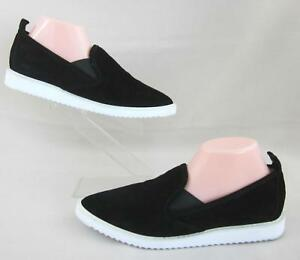 Karl Lagerfeld Paris 'Clement' Dual Gore Slip On Sneakers Black Calf Suede 8.5M