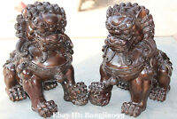 "14"" Chinese Folk Bronze Foo Fu Dog Guardion Door Lion Leo Ball Kid Pair Statue"