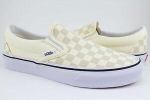 Vans Slip-On -Classic Off White/Light Beige Checkerboard Checker Check-Men/Women