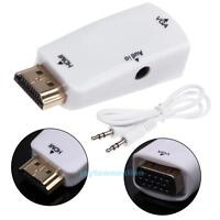 1080P HDMI Male to VGA Female Converter Box Adapter+ Audio Cable For HDTV/PC/PS3