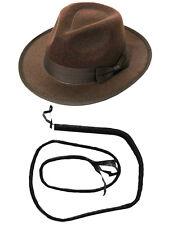 Explorer Hat Fancydress Marrone di feltro Borsalino Bull Whip Western Safari Indiana Jones