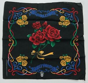 Rare VTG HARLEY DAVIDSON Motorcycles Rose Flower Bandana Handkerchief 80s 90s