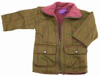Girls Childrens Tweed Coat for Ages 2-10 Years Fleece Lining Winter Jacket
