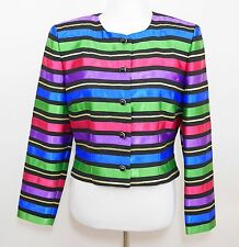 MAGGY LONDON Multi Colored Striped Blazer Dinner Jacket Cropped Coat - WOMEN'S 8