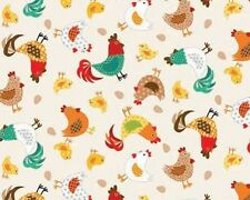 Fat Quarter Jolly Farm Chickens Cotton Quilting Fabric - Makower