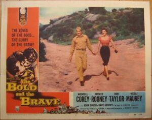 Romance Movie 1956 Lobby Card: Bold & The Brave w/Mickey Rooney & Wendell Corey