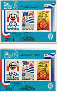 URUGUAY 1975 TWO SS STAMP MNH PERFORATED AND IMPERFORATED SOCCER WC, OLYMPICS