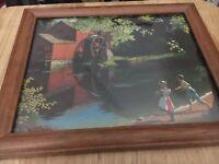 Vintage Old Mill Stream Paul Detlefsen Texture Board Litho Print Framed 12x9 1/2