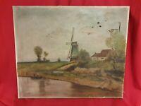 Ancienne huile sur toile, peinture paysage, moulin, signée et datée 1912