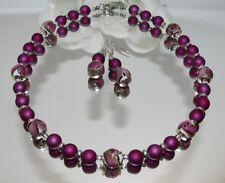2er SCHMUCKSET  K/A SPIRAL Glasperle Lampwork gemustert  Perlen bordeaux 448d