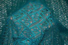 Teal Crochet Knit #4 100% Polyester Soft Warm Stretch Fabric BTY