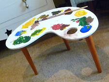 Funky Artist Palette Small Table Comical Retro Refurbished Hand Painted Dansette