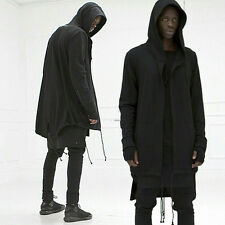 Fashion Men hooded jacket long cardigan black ninja goth gothic punk hoodie new
