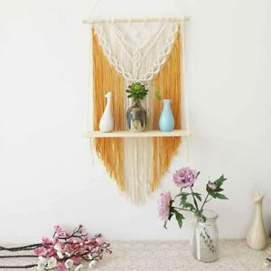 Macrame Wall Hanging Shelf Floating Planter Holder Organizer Boho Home Decor