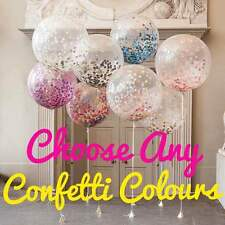 GIANT Confetti Clear Balloon Round 90cm 3ft  Qualatex 1st Birthday Wedding